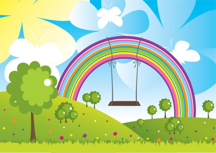 free vector Rainbow Flying trapeze